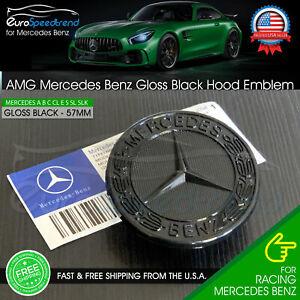 AMG Hood Emblem Gloss Black Front Flat Laurel Wreath Badge Mercedes Benz 57mm OE
