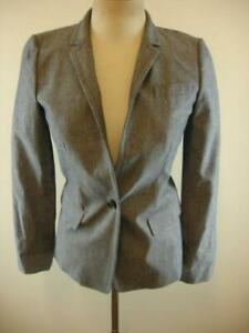 Women's sz 4 J.Crew Regent Chambray Blue Cotton Stretch Jacket Blazer Sport Coat