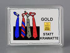 1 Gramm Gold 999,9 + Zertifikat ► 1g Goldbarren ► Geschenk Krawatte Vatertag