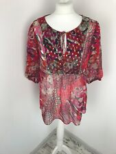 Monsoon Pink Red Blouse Peasant Top Gold Dots Sheer Size 14