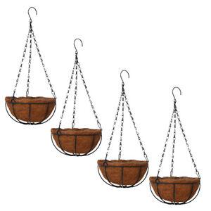 4x Garden Hanging Coconut Basket Planter Flower Pot Black Metal Frame Hanger