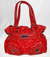 Kathy Van Zeeland Red Faux Leather Multi Pocket Shoulder Bag with Ruffled Top