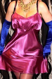 (Ref 12) Shiny Gleaming Sleek Slippery Plum Faux Satin Ladies Night Dress 16