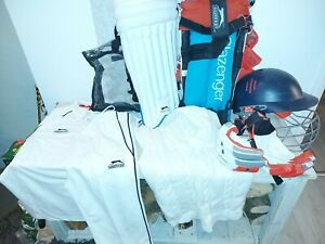 Slazenger junior cricket set, helmet, gloves, pads, top and trousers plus jumper