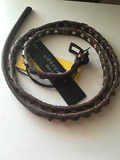 "Liebeskind Berlin DARK Brown Leather Skinny Belt  Studs Size 90 CM 41"" NEW"