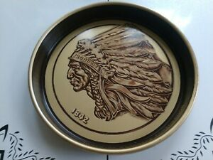 Vintage Iroquois Beverage Corp Buffalo NY Indian Head Beer Tray Man Cave Art