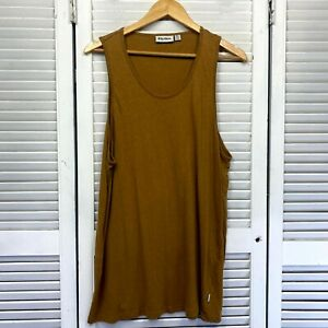 Rhythm Singlet Mens XL Mustard Yellow Sleeveless Scoop Neck Linen Cotton Blend