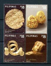 Philippines 2016 MNH Gold Artefacts Gold Disc Kinnari Ornaments 4v Block Stamps