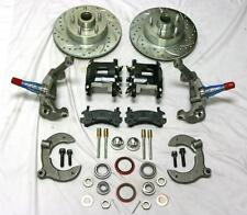 """Mustang II 2"""" Drop Front Disc Brake Kit BLK Wilwood Calipers Slotted Ford Rotors"""