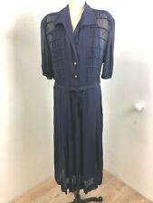 XXL  1X Vintage 40s Navy Silk Chiffon Sheer A-line Full Skirt Dress & Slip