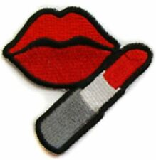 Lips Red Lipstick iron on/sew on Embroidered Patch Applique DIY (US Seller)