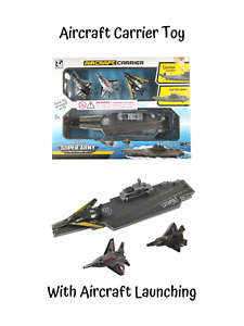 Aircraft Carrier Toy Navy Ship Jet Planes Catapult Launch System Childrens Fun