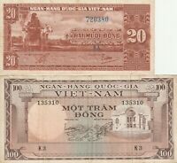 Vintage Group Lot 2 Banknotes South Vietnam 20 100 Dong 1962 Pick 6 18