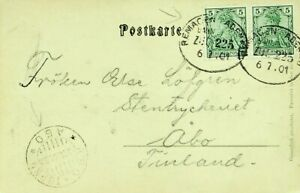 GERMANY 1901 AHRTHAL ALTENAHR PANORAMA PPC W/ 5pf PAIR TO ABO FINLAND