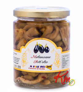 Melanzane a FIletti sott'olio vaso da 290gr Conserve siciliane a km0 mangia sano