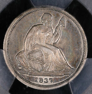 1837 SEATED LIBERTY SILVER DIME COIN NO STARS SMALL DATE PCGS XF45