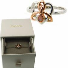 Clogau Ring Size L, N, O, P Opal Dwynwen Heart Silver Welsh 9ct Rose Gold