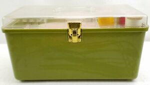 Vintage Wilson Wil-Hold Green Plastic Sewing Box With Tray and Contents USA