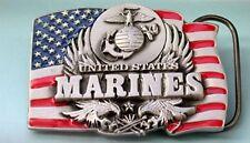 US MARINES INSIGNIA W/ FLAG PEWTER BELT BUCKLE