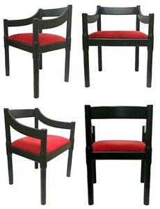 Lot of Four Chairs Carimate Design vico magistretti For cassina Years 60