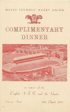 WALES v ENGLAND 13 Apr 1957 SCHOOLS UNDER 16s RUGBY DINNER MENU CARD
