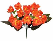 12 Orange Open Roses Long Stem Silk Wedding Bouquet Flowers Centerpieces
