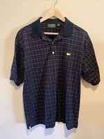 Masters Amen Corner Mens Polo Golf Shirt - Short Sleeve Black Plaid - Sz. Large