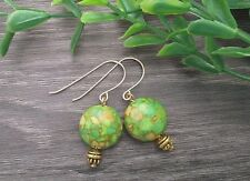 Gold Filled Hooks & Round Coin Turquoise Green Golden Lines Stone Short Earrings
