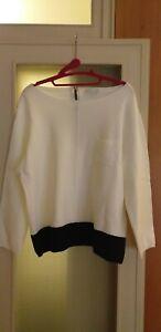 TUNICA in maglia 100% cotone misura XL color panna con ampia fascia nera