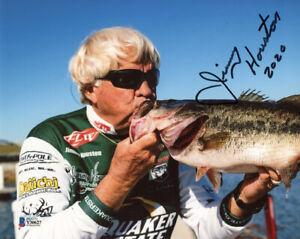 JIMMY HOUSTON SIGNED 8x10 PHOTO FAMOUS CELEBRATED FISHERMAN FISHING BECKETT BAS