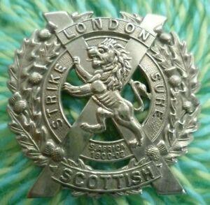 WW1 London Scottish Regiment Cap Badge WM 2 Lugs ANTIQUE Original