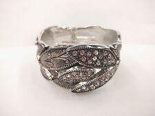 Fashion Vintage Silver Plated Leaf Shape Clear Glinted Crystal Bangle Bracelet