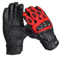 Red Premium Leather Summer Motorcycle Motorbike Gloves Cowhide