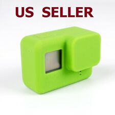 Silicone Housing Case Protective + Lens Cap Cover For GoPro HERO 5 Camera Green