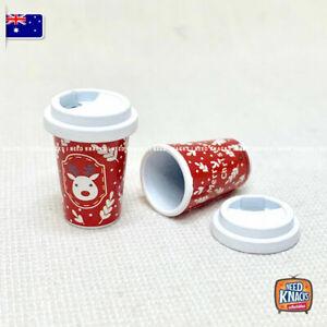Mini Coffee Cup Christmas Theme - Miniature Dollhouse Accessories 1:12