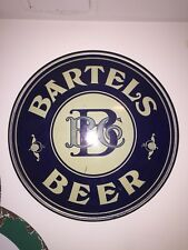 Vintage Bartels Beer Sign Round Tin Bar Pub BB Co Chas. W Shonk Co Litho Chicago