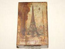 VINTAGE 1889 SOUVENIR PARIS FRANCE WORLD EXPOSITION L'  EIFFEL TOWER  WOOD BANK