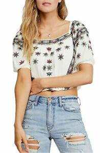 Free People Womens Blouse White Ivory Sz Medium M Embroidered Crop Top $128 109