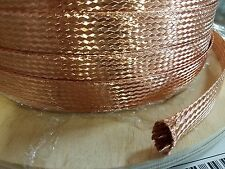 """5 FEET 3/4"""" BRAIDED GROUND STRAP GROUNDING Bare Copper Flat Braid MADE IN USA"""