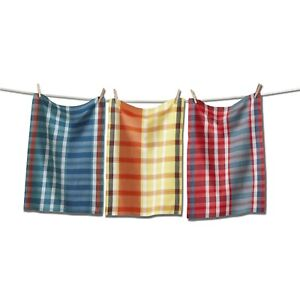TAG Plaid Multicolor Kitchen Dish Towel Set Of 3 18in x 26in 100% Cotton New