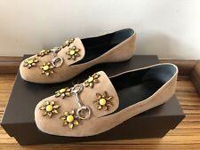 100%Original GUCCI Wildleder Loafer / Schuhe mit Stein beige Gr. 36 OVP