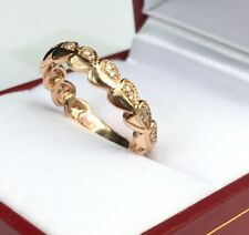 14k Solid Rose Gold Beautiful Heart Band Ring Genius Diamond 0.14CT, Size 6.5