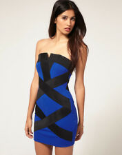 Lipsy Bodycon Bandage Dress 12 Blue Black Panel Bandeau Strapless Party Club
