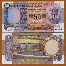 India,  50 Rupees, (1978), P-84d, Letter A, sig. 85, UNC > W/H