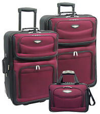 Travelers Choice Amsterdam Red 3-Piece Expandable Wheel Luggage Suitcase Bag Set