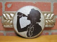 1940s COCA-COLA Embossed Tin Adertising Soda Sign Girl Drinking Bottle COKE