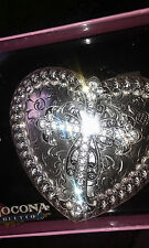 Silver Rinestone Cross HeartShape Belt Buckle Nocona Belt Co.