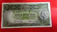 COMMONWEALTH  OF  AUSTRALIA  QUEEN  ELIZABETH  II   -   £1 ONE POUND BANKNOTE,