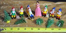Vintage 1950 Disney Snow White and Seven Dwarfs Celluloid Cake Topper Figurines