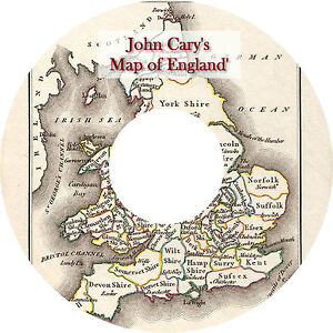 John Cary's New Map of England & Wales Antique 1794 VERY HIGH RESOLUTION DVD